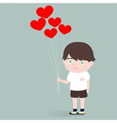 little boy with heart balloons vector image
