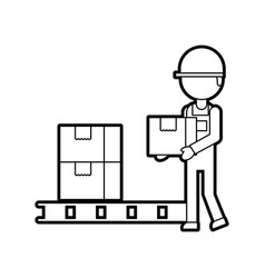 logistic delivery man character holding parcel vector image
