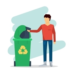 Man with garbage bag vector image