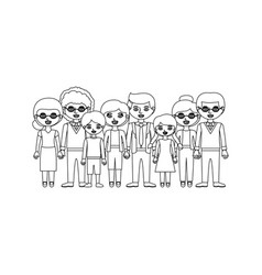 Monochrome silhouette with family group with vector