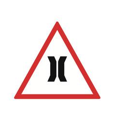Narrow bridge road sign icon vector