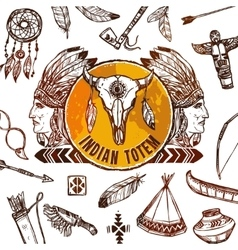 Native Americans Background vector image
