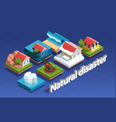 Natural disaster isometric concept vector