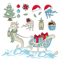 new year sea horse new year color vector image