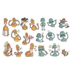 Orange robot set of cartoon outlines portraits vector