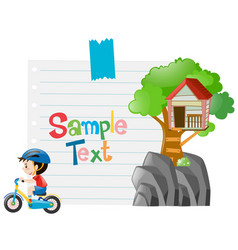 paper design with boy on bike vector image