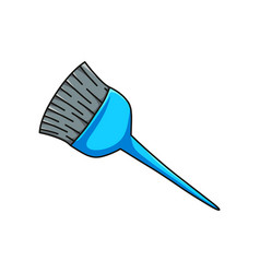 Professional hair dye brush with blue handle vector