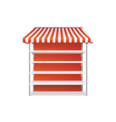 realistic detailed 3d striped shop stall template vector image