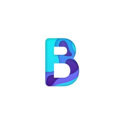 realistic paper cut letter b vector image