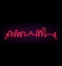 red neon skyline oklahoma city city bright vector image