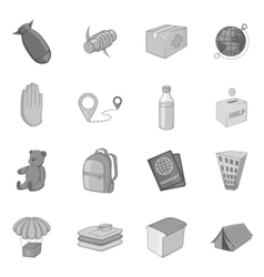 Refugees icons set monochrome style vector