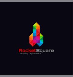 rocket square logo - stylish diamond concept logo vector image