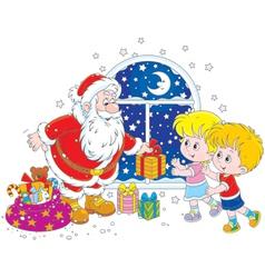 Santa and kids vector image