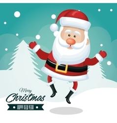 santa claus merry christmas card white pine vector image