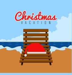 Santa hat on a beach chair christmas vacation vector