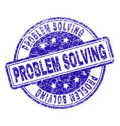 Scratched textured problem solving stamp seal vector