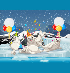 Seal group in party theme cartoon character on vector