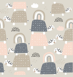 seamless pattern with cute turtles and rainbows vector image