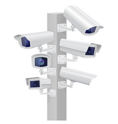 Security cctv cameras set traffic supervision vector