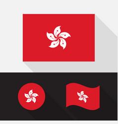 set hong kong flag flat design vector image