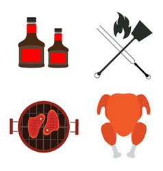 Set of barbecue ralted objects vector