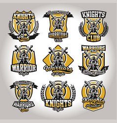 set of colorful logos emblems of a knight on a vector image