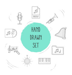 set of melody icons line style symbols with vector image