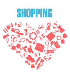 shopping love heart with set of women fashion vect vector image