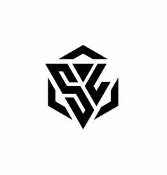 Sl logo monogram with triangle and hexagon modern vector