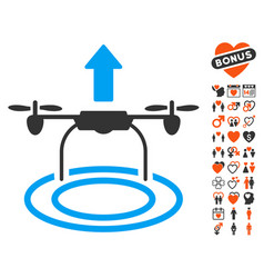 Start drone icon with dating bonus vector