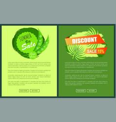 summer discount posters set big sale emblems palms vector image