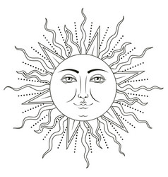 Sun with human face symbol vector