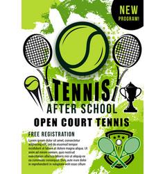 tennis balls rackets and trophy cup sport school vector image