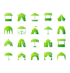 Tent simple gradient icons set vector
