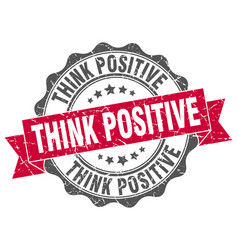think positive stamp sign seal vector image