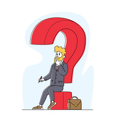 Thoughtful business man sitting on huge question vector