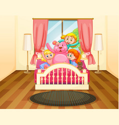 Three girls in bedroom with pink teddybear vector