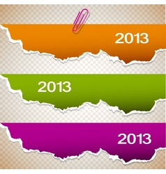 Torn paper banners with space for text 2013 vector image