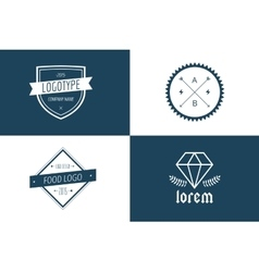 Vintage old style logo icon template set vector image