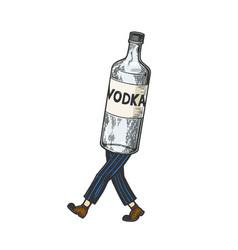 Vodka walks on its feet color sketch vector