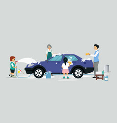 Wash a car vector