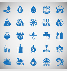 Water icons blue set on black background for vector