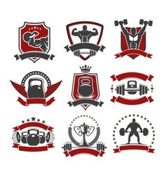 Weightlifting powerlifting gym sport club icons vector