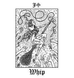 Whip tarot card from lenormand gothic mysteries vector