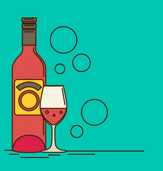 Wine bottle and wine glass with red wine flat vector