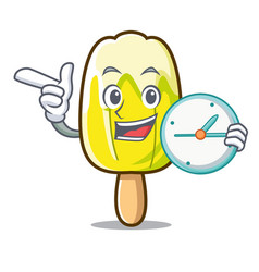 With clock lemon ice cream character cartoon vector