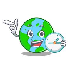 With clock world globe character cartoon vector
