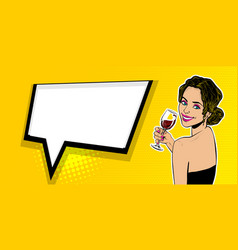 Woman pop art speech bubble text advertise vector