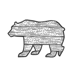 Wooden bear animal silhouette sketch vector