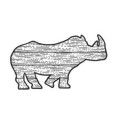 wooden rhinoceros animal silhouette sketch vector image